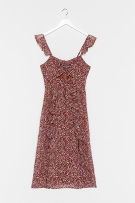 Nasty Gal Womens Frilly Midi Dress in Grunge Floral - Brown - 4