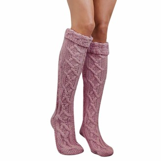 Toamen Socks Toamen Women Knitted Socks Sale Clearance Thigh High Over the Knee Long Cotton Warm Tights Socks Cotton Rich Comfortable