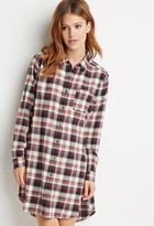 Forever 21 FOREVER 21+ Contemporary High-Slit Plaid Flannel Tunic