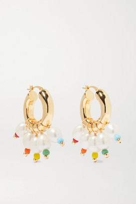 Eliou Gold-tone, Bead And Pearl Hoop Earrings - one size
