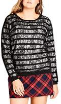 City Chic Plus Size Women's Lace Stripe Sweater