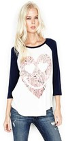 Lauren Moshi Maglan Boyfriend Raglan in Faded White/Blue