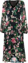 Wallis Black Floral Ruffle Hem Midi Dress