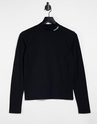 Wrangler high neck long sleeve T-shirt with logo in black