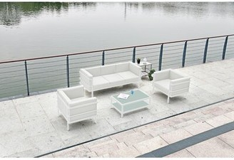 Brayden Studio Macedonia 4 Piece Sofa Seating Group Frame Color/Cushion Color: White Frame/White Cushion