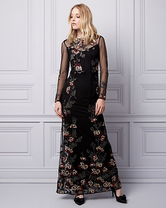 Le Château Embroidered Mesh Gown