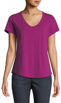 Eileen Fisher Short-Sleeve Organic Cotton V-Neck Shirttail Tee, Plus Size
