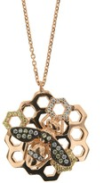 Sterling Silver Honeycomb Bee Cz Necklace In Rose Gold
