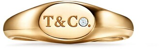 Tiffany & Co. micro oval signet ring in 18k gold with diamonds, 6 mm wide