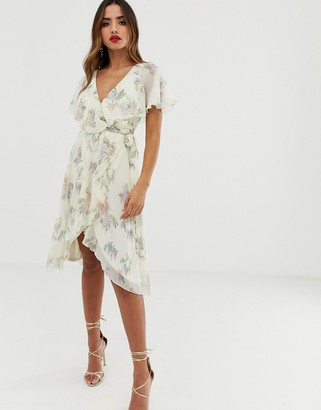Asos Design DESIGN midi dress with cape back and dipped hem in cream based floral-Multi