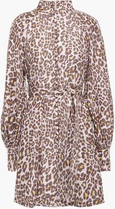 Zimmermann Gathered Leopard-print Silk Mini Dress