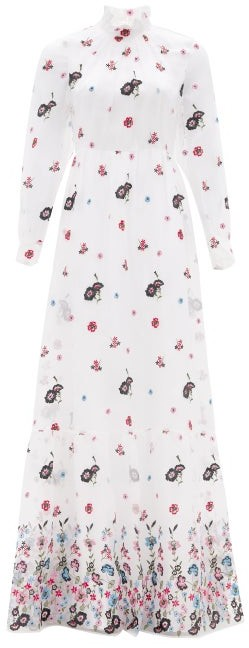 Erdem Clementine Floral-embroidered Organza Gown - White Multi