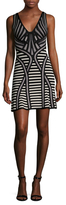 Herve Leger Striped Intarsia Flared Dress
