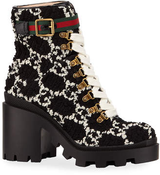 Gucci Trip GG Tweed Lace-Up Booties