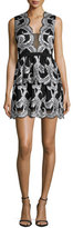 BCBGMAXAZRIA Sleeveless Scallop-Trim Cocktail Dress, Black/Ivory