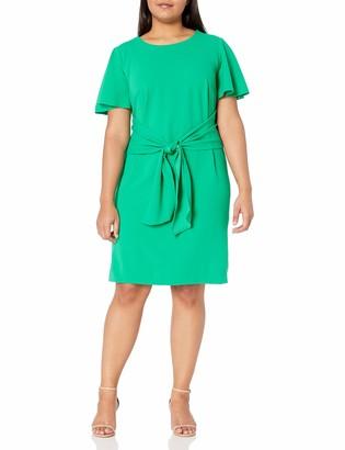 Donna Morgan Women's Plus Size Stretch Crepe Tie Front Dress