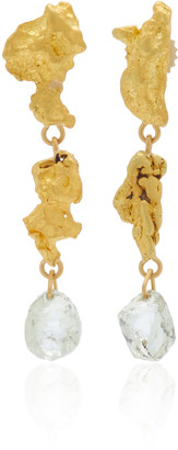 Lisa Eisner One of a Kind Baroque Gold Nugget & Raw Diamond Drop Earrings