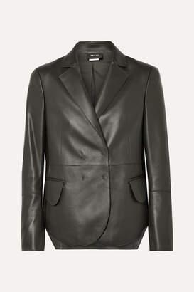 Akris Denada Double-breasted Leather Blazer - Dark green