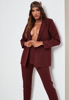 Missguided Petite Wine Co Ord Tailored Boyfriend Blazer
