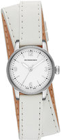 Burberry 30mm Round Stainless Watch with Double-Wrap White Leather Strap