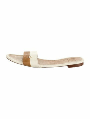 Tory Burch Leather Slides Brown