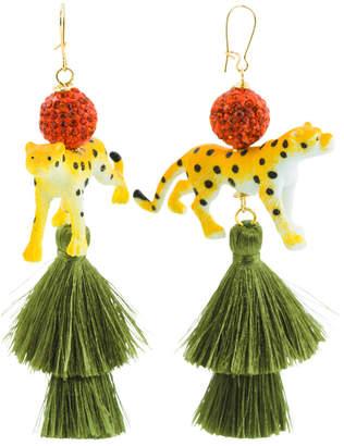 Handmade In Usa Cheetah Silk Tassel Earrings