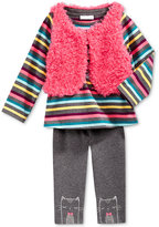 First Impressions 3-Pc. Faux-Fur Vest, T-Shirt & Cat Leggings Set, Baby Girls, Only at Macy's