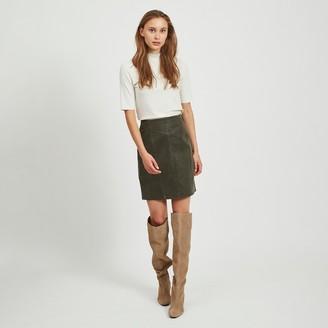 Vila Faux Leather Straight Mini Skirt
