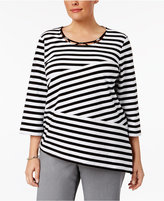 Alfred Dunner Plus Size Closet Case Collection Striped Necklace Top