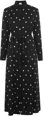 HUGO BOSS Belted Polka-Dot Shirt Dress