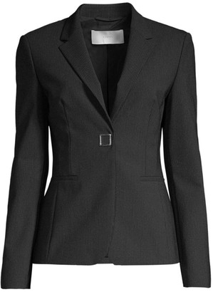 HUGO BOSS Julea4 Strech Wool-Blend Metal Snap Pinstripe Jacket