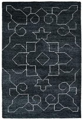 "Kaleen Hand Woven Solitaire Charcoal Bamboo Silk Rug, 5'x7'9"""