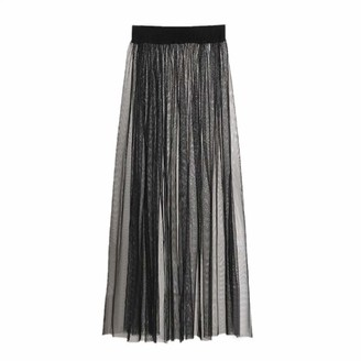 Yeptop Womens Sexy See Through Mesh Maxi Long Tulle Skirt Ultra-Thin Pleated Flowy Solid Color High Waist Cocktail Party Clubwear Single Layer A-Line Dress Black