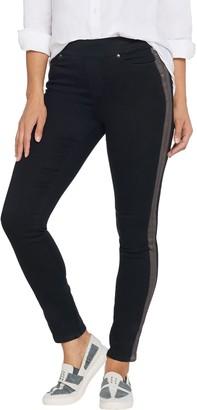Martha Stewart Petite Knit Denim Metallic Tuxedo Stripe Ankle Jeans