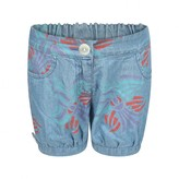 Fendi FendiBaby Girls Blue Chambray Orchid Print Shorts