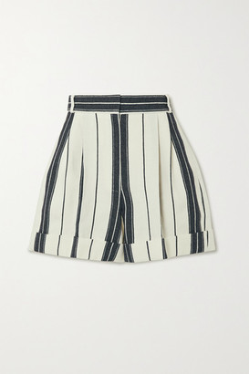 Alexander McQueen Striped Linen And Cotton-blend Shorts - Ivory