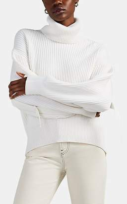 Helmut Lang Women's Rib-Knit Cotton-Wool Turtleneck Sweater - White