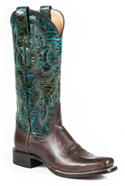 Stetson Dark Brown & Turquoise Leather Cowboy Boot