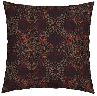 Roostery Steampunk Gears Victorian Stripes Dots Throw Pillow Velvet