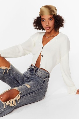 Nasty Gal Womens Knit's Our Time Cropped Button-Down Cardigan - Cream