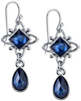 2028 Silver-Tone Blue Stone Drop Earrings