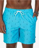 "Nautica Men's Quick-Dry Anchor-Print 7 1/2"" Swim Trunks"