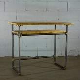 Seraphine Solid Wood Desk 17 Stories Color: Brushed Brass Gray/Natural
