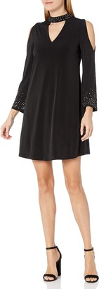 Jessica Howard Women's Bell Sleeve Stand Collar Dress