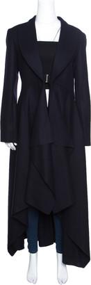 Celine Navy Blue Wool Buckle Detail Draped Long Coat L