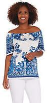 Susan Graver Printed Knit Gauze Raglan SleeveTop with Fringe