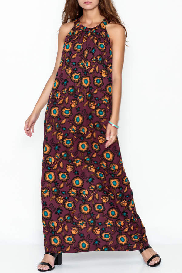 Everly Burgundy Floral Maxi Dress