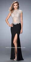 La Femme Crystalized High Collar Prom Dress