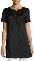 Glamorous Short-Sleeve Lace-Up Faux-Suede Top, Black
