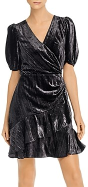Parker Hayden Metallic-Velvet Faux-Wrap Dress